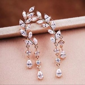 Gold Plated Crystal Zircon Tassel Ear Studs NEW